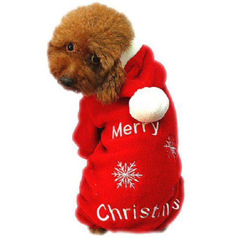 Soft Warm Dog Christmas Dress Clothes - RED L