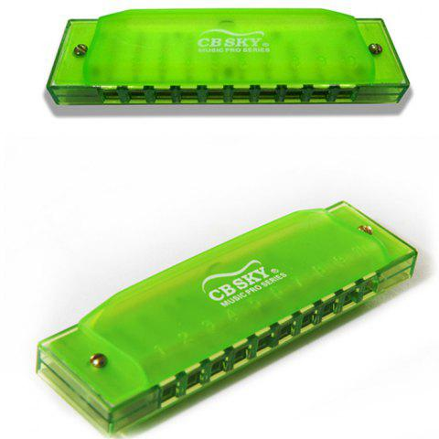 LLH10S Ten-hole Harmonica With Back Card (4 Colors) - YELLOW GREEN REGULAR