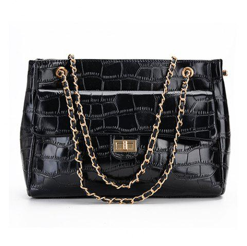 Female Stone Pattern Shoulder Simple Wild Large Capacity Chain Crossbody Bag - BLACK