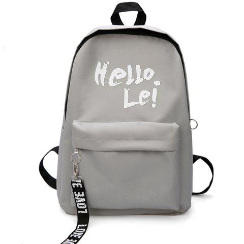 Student Female School Bag Nylon Cloth Street Trend Backpack - GRAY CLOUD
