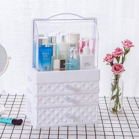 Portable Transparent Double Door Dustproof Drawer Type Cosmetic Storage Box medium White Three Pumping - WHITE