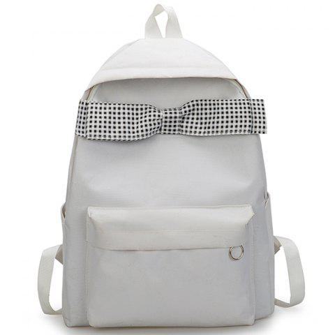 Canvas Female Bag High School Student Campus Travel Backpack - WHITE