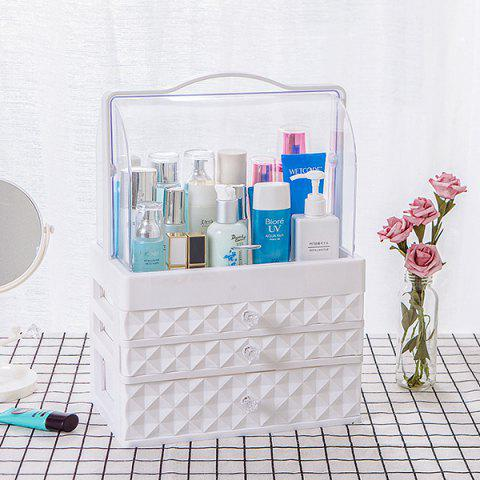 Portable Transparent Double Door Dustproof Drawer Type Cosmetic Storage Box Large White Three Pumping - WHITE