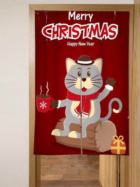 Christmas Cat Design Door Curtains - RED WINE W33.5 X L47 INCH