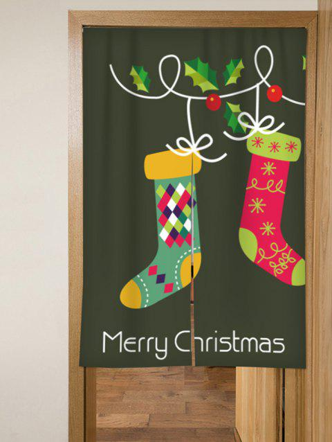 Merry Christmas Stocking Design Door Curtain - ARMY GREEN W33.5 X L47 INCH