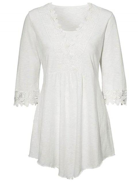 HQ0086 Solid Color Stitching Lace Mid Sleeve Blouse - WHITE 2XL
