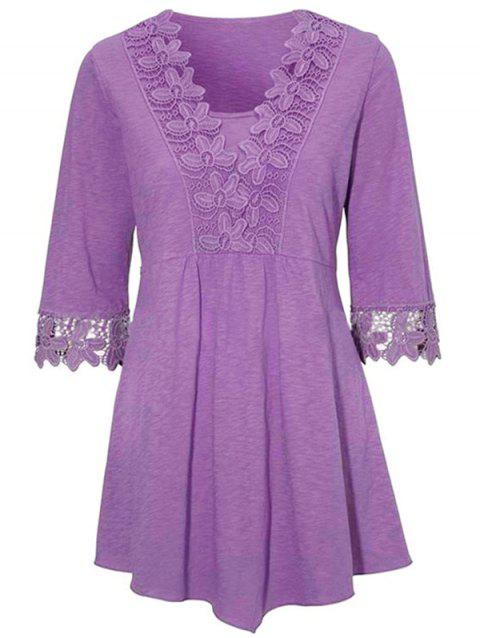 HQ0086 Solid Color Stitching Lace Mid Sleeve Blouse - PURPLE M