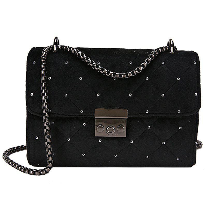 Fashion Youth Lingge Embroidery Thread Comfortable Shoulder Bag - BLACK