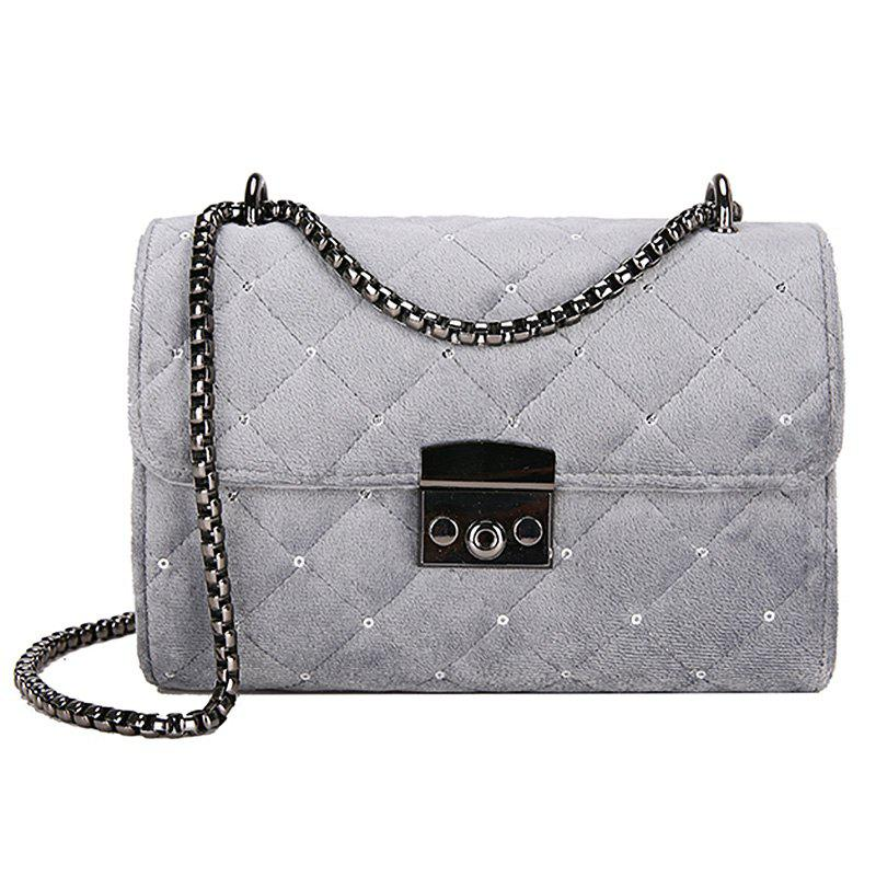 Fashion Youth Lingge Embroidery Thread Comfortable Shoulder Bag - GRAY CLOUD