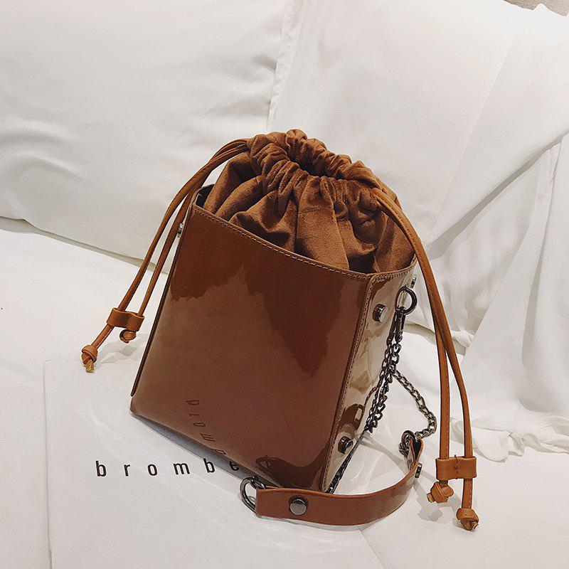 Autumn Winter Fire Patent Leather Bucket Wild Chain Single Shoulder Bag - LIGHT BROWN