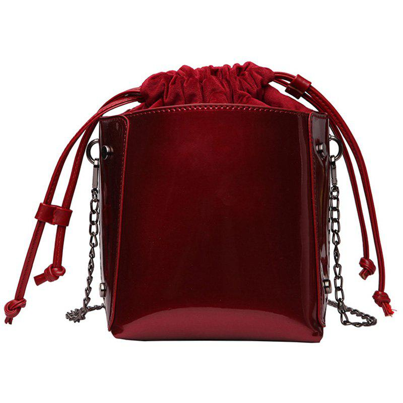 Autumn Winter Fire Patent Leather Bucket Wild Chain Single Shoulder Bag - LAVA RED