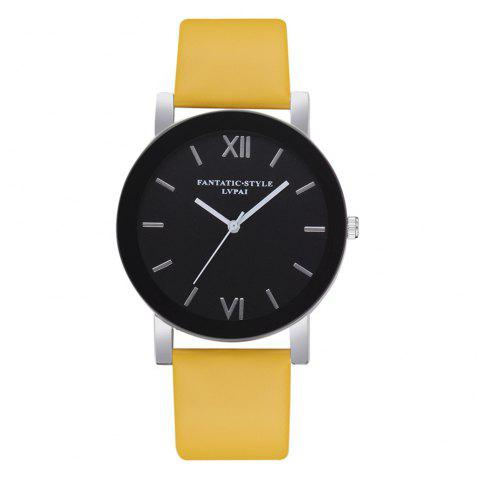Lvpai P678 Black Mirror Business Ladies Quartz Watch - YELLOW