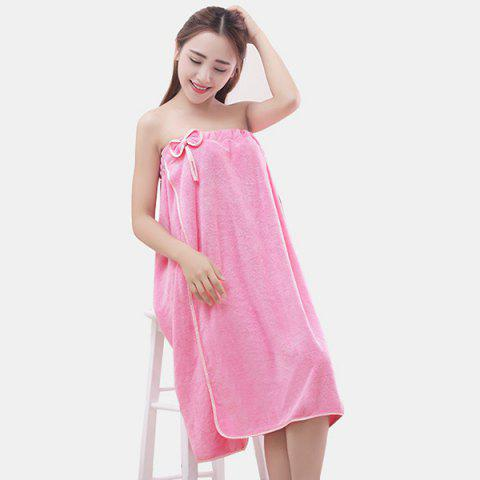 Microfiber Bowknot Thick Warm Winter Strapless Bath Skirt - PINK