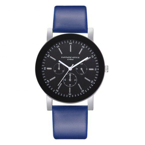 Lvpai P679 Business PU Belt Quartz Watch for Student - BLUE