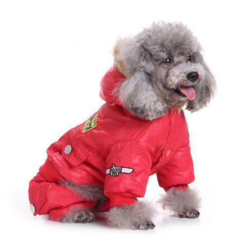 Air Force Suits Four-legged Winter Pet Dog Clothes - RED XS