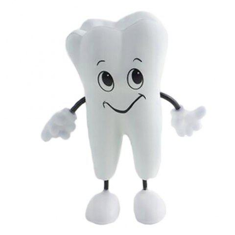 PU Tooth Doll Cute Smile Squishy Toy - WHITE