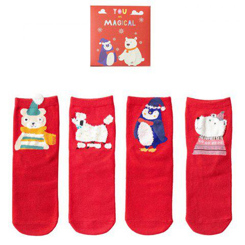 Personality Cartoon Combination Female Fuzzy Socks 4 Pair - VALENTINE RED D