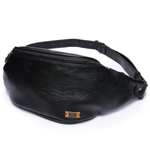 Chinese Style Personality Male Waist Bag for Men - BLACK
