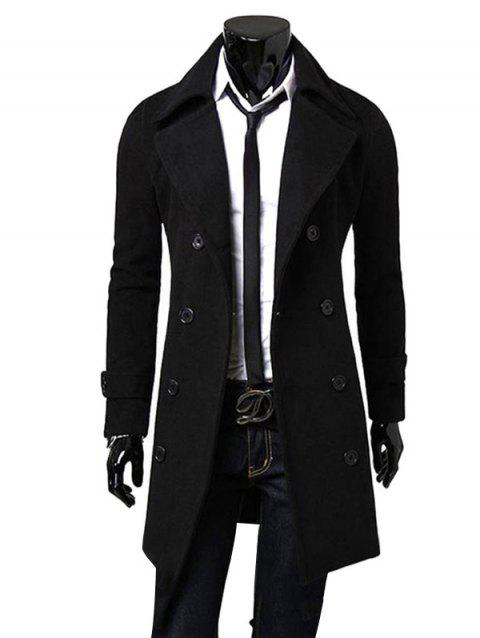 Men Fashionable Turn-down Collar Long Wind Coat - BLACK 3XL