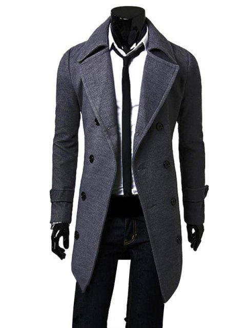 Men Fashionable Turn-down Collar Long Wind Coat - GRAY WOLF L