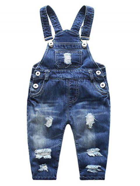 3 - HZY5913 - I15.1.02  Fashion Comfortable Children Denim Bib Pants - DEEP BLUE 85CM