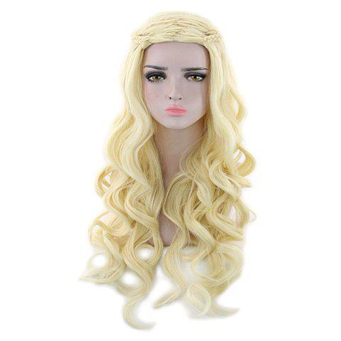 Braided Long Curly Hair Cosplay Wig - GOLD