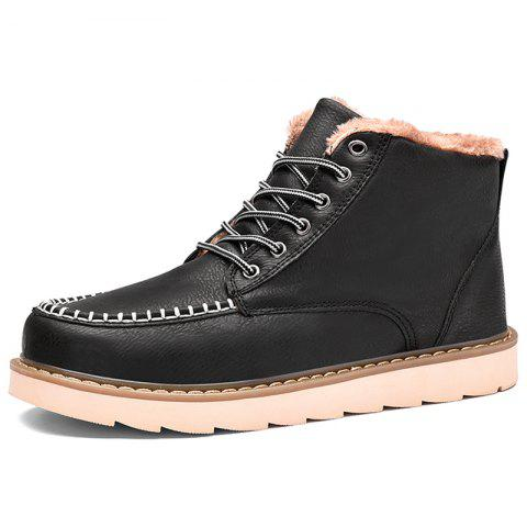 Autumn and Winter Handmade Stitching Plus Cotton Men Boots - BLACK EU 40