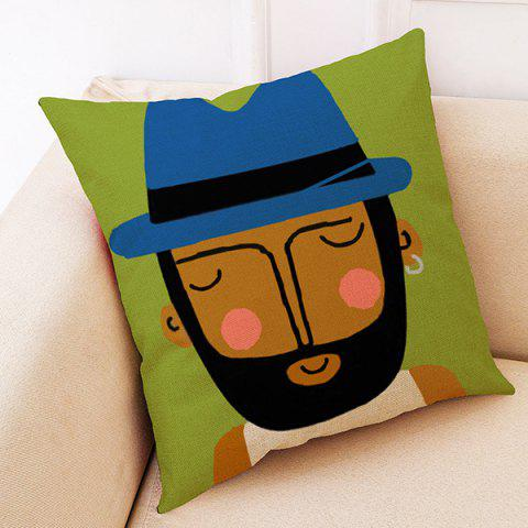 Creative Cartoon Portrait Hug Pillowcase - COOKIE BROWN 03