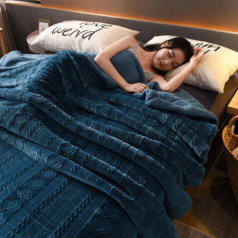 Solid Color Lamb Double Layer Velvet Blanket - CADETBLUE
