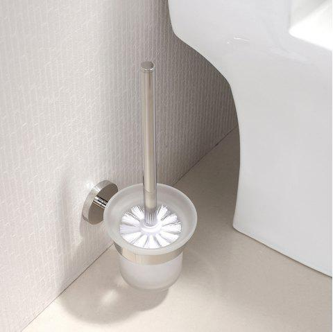 BATHINF Silver Glossy 304 Stainless Steel Bathroom Accessories Toilet Brush Cup - SILVER