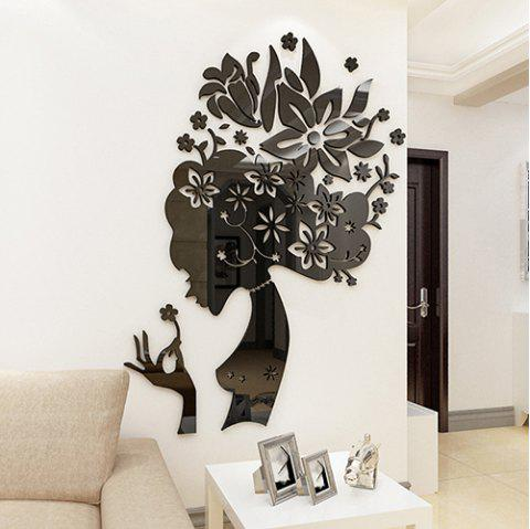 3003 Creative Flower Fairy Mirror Acrylic 3D Living Room Bedroom Decor Wall Sticker - BLACK L