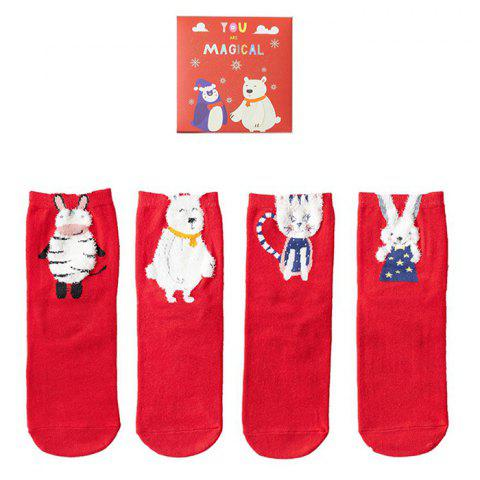 Personality Cartoon Combination Female Fuzzy Socks 4 Pair - VALENTINE RED A
