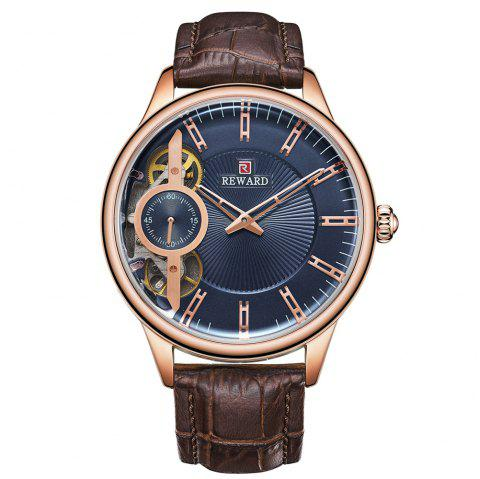 REWARD RD63091M Men's Automatic Mechanical Watch Small Seconds Belt with Box - multicolor A BLUE DIAL ROSE GOLD LETTER