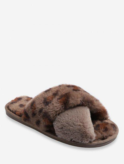 Leopard Pattern Crisscross Fuzzy Slippers - BROWN EU 39