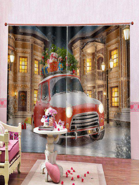 2PCS Christmas Gift Car Print Window Curtains - RED WINE W33.5 X L79 INCH X 2PCS