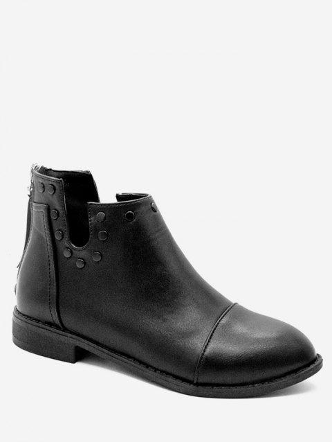 Cut Top Ankle Boots with Studs - BLACK EU 40