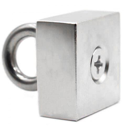 Square Nd-Fe-B  Suspension Ring Salvage Magnet - SILVER