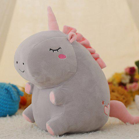Gemini Round Rolling Unicorn Doll Stuffed Plush Toy - GRAY 35CM