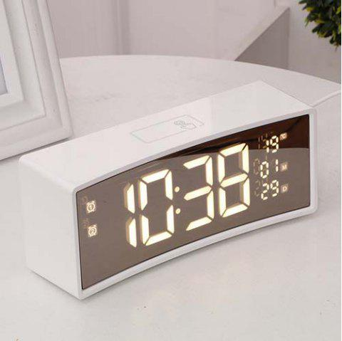 3D Curved Surface Screen Mirror Suspension Sense Font Smart Electronic Alarm Clock - WHITE