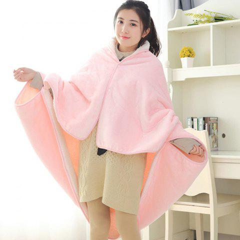 Cute Youth Comfortable Office Nap Soft Cloak Double Thick Blanket - PIG PINK