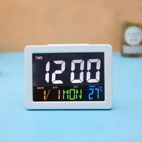 Color Large Screen LCD Electronic Clock - WHITE