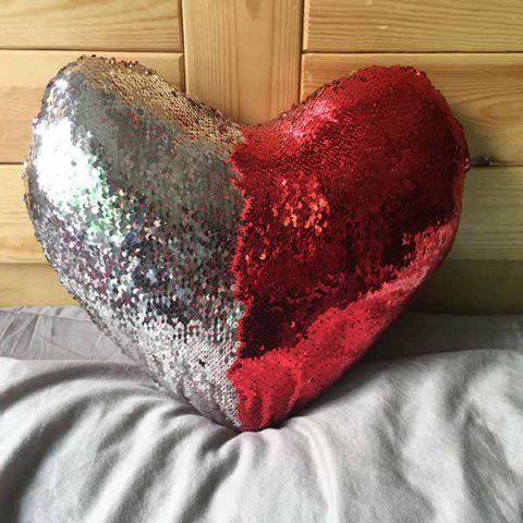 Mermaid Heart-shaped Sequins Pillow - RED