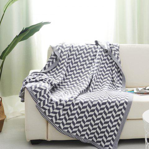Sofa Geometric Cotton Blanket - CRYSTAL CREAM