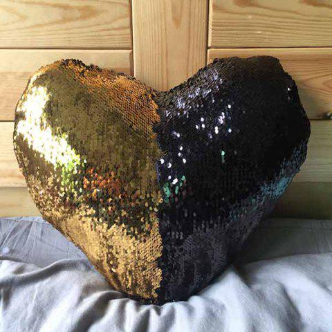 Mermaid Heart-shaped Sequins Pillow - BLACK