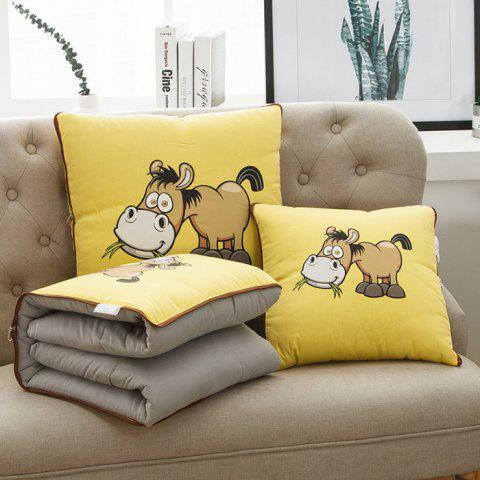 Cotton Print Cartoon Dual-use Office Car Cushions Pillow Cover - YELLOW S