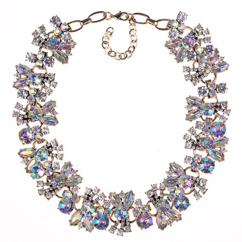 Beautiful Exaggerated Crystal Flower Necklace - MAUVE
