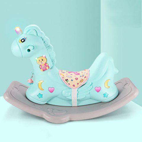 Rocking Horse Dual-use Scooter Toy with Music Learning Toy for Baby - AQUAMARINE