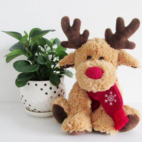 Red Nose Elk with Scarf Christmas Deer Plush Toy - BROWN