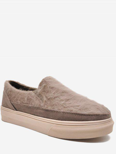 Fuzzy Slip On Flats - CAMEL BROWN EU 39
