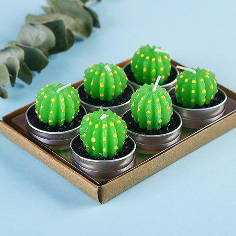 Plant Decoration Smokeless Creative Craft Candles 6pcs - GREEN PRICKLY PEAR